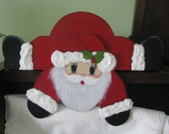 Santa,  shelf sitter, Christmas, handpainted, red