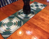 Vintage Handmade Green Christmas or Holiday Quilted  table runner for holiday, housewares, home decor by MarlenesAttic