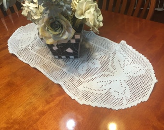 Vintage White Hand Crochet table runner or dresser scarf for christmas, holiday, housewares, home decor, valentines by MarlenesAttic