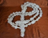 Wedding Lasso, lazo para bodas, Ivory Rope and Cross, Satin Flowers and Pearls and crucifix