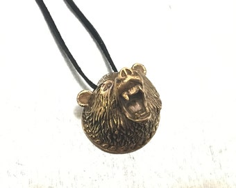 Grizzly Bear Necklace, Brown Bear, Medieval Jewelry, Grizzly Bear, Bronze Bear Necklace