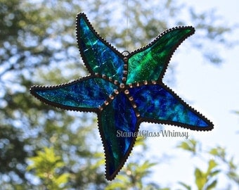 Stained Glass STARFISH Suncatcher - Jewel Toned Cobalt Blue & Green on Clear; Decorative Soldering -- USA Handmade Original