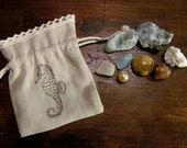 Sea Witch Stone Bag ~ Sea Witch, spells, shells, sea magick, witch, witches, ocean, water element,  mini set, sea hag, altar, ritual