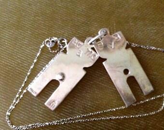 """Vintage Italy Adamo & Eva Sterling Silver 925 Adam Eve Puzzle Pendant Necklace 17.5"""""""