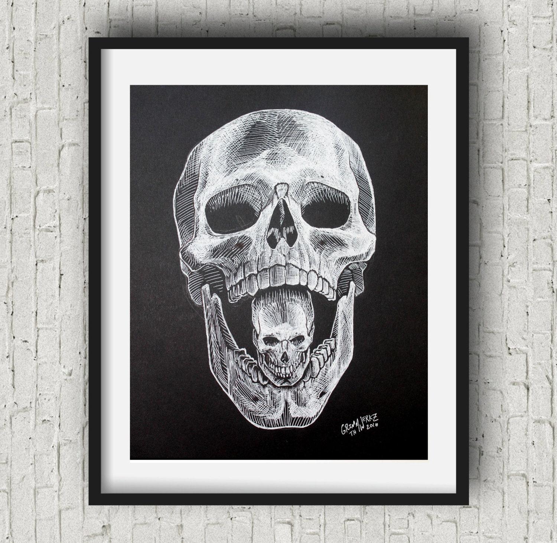 Black white skull print steampunk skull gothic home decor for Skull home decor
