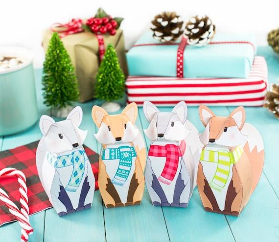 Diy Christmas Favor Boxes : Printable winter fox gift boxes diy christmas party favor