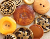 bright orange gold tone metal rust red eco friendly vintage modern buttons--mixed lot of 10