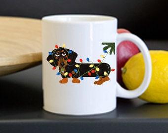 Mug/Dachshund Mug/Dachshund (Blk/Tan) Tangled In Christmas Lights Mug/Christmas/Christmas Mug/Squirreldumplings/Doxie /Gifts/Wiener Dog Mugs
