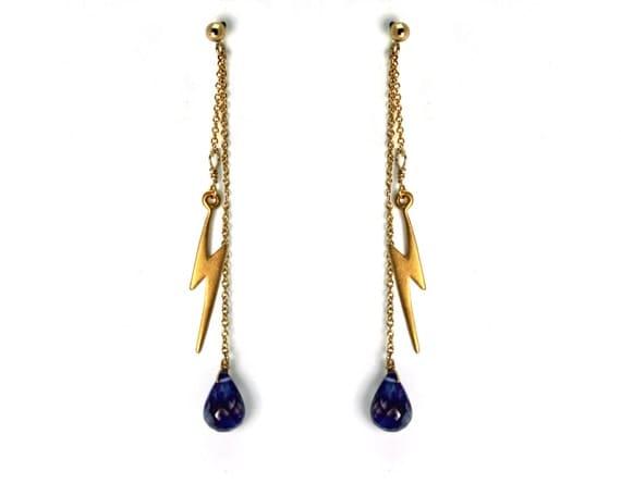 Lightning Bolt Drop Earrings. Post Earrings with Iolite Gemstone Dangles Gold Filled or Sterling Silver Dangle Earrings E-2014