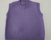 Lilac Sleeveless Vest - Size 3-6 months - Hand knitted - Wool/cashmere blend