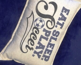Soccer Pillow,  12x18 lumbar, Eat Sleep Play Soccer, sports, boys, girls, soccer decor