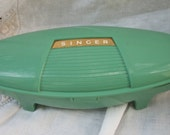 Very Cool Green Case ~ Singer Sewing Machine Button Hole Attachment ~ Colorful ~Mid Century  Cottage Farmhouse Chic
