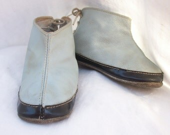 Primitive Chic Baby Shoes ~ Black & Blue ~ Lace up Backs ~ Booties ~ Unusual Style
