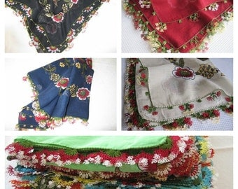 Turkish-Turkey oya Scarf-Yemeni-Ethnic scarf-green red navy blue-floral-cotton gauze-handmade needle Crochet lace-Womens scarves scarves2012