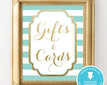 Mint and Gold Baby Shower Sign - Gift & Cards party sign - Gold Glitter Baby Shower - Gold Glitter Printable - Baby Shower Printable