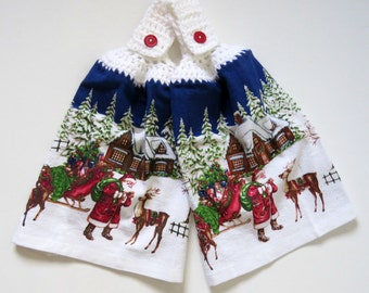 Santa with Sleigh Hanging Hand Towel Set of 2