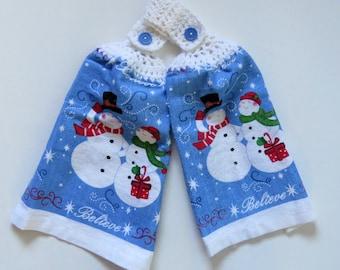 Mr. & Mrs. Believe Snowman Crochet Top Kitchen Towel Set of 2