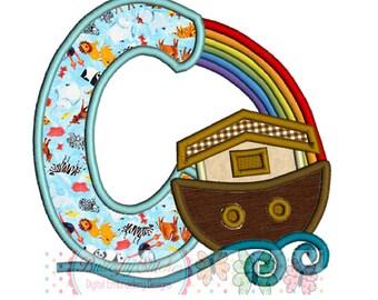 Noah's Ark Letter A Digital Machine Appliqué Embroidery Design