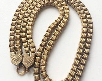 "Vintage Box Belcher Chain Necklace, Double Link Gold Briolette Chain, 16"" Gold Necklace"