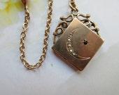 Victorian Jeweled Locket,Antique Crescent Moon and Star Fob Locket, Garnet & Seed Pearl Crescent Moon, Romantic Vintage, Victorian Locket
