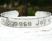 Choose Joy, Personalized Jewelry, Love Bracelet, Happiness, Live Love Life, Stamped Bracelet, Be Happy Bracelet, Aluminum Cuff, Hearts