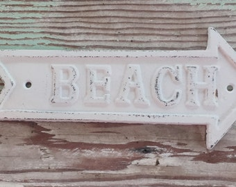 Decorative Wall Sign / BEACH Sign / Shabby Chic Wall Decor /Cast Iron -Distressed White / BEACH / Nautical /Beach Arrow