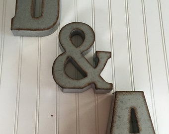 Metal Letters- Wall Letter Sign - Signage - Rustic Industrial Wall Letters -Nursery -Wedding -Ampersand - Gallery Wall