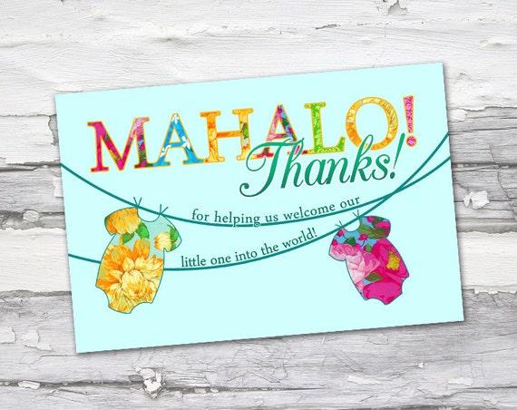 Mahalo Luau Tropical Baby Thank You - Printable.  *With FREE thank you circles design!*