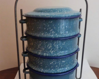 vintage turquoise speckled enamelware stacking miners lunch box