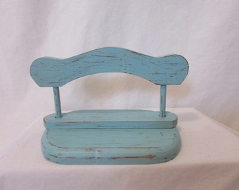 Wood Napkin Holder, Shabby Chic, Aqua Blue, Hand Painted, Distressed, Beach Cottage, Rustic Country