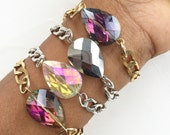 Faceted Crystal Bead Chain Bracelet, rhinestone jewelry, chunky jewelry