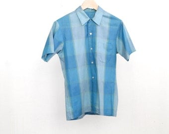 60s BEACH BOYS surf soft size small MEN'S vintage plaid summer time shirt