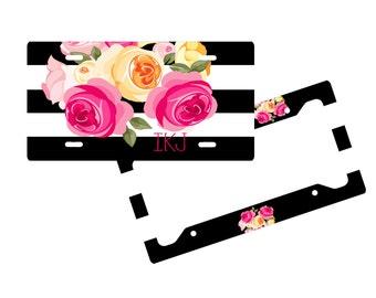 Personalized License Plate Frame - Roses - Monogram Vanity License Plate Frame