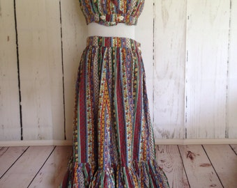 Vintage 70s Hippie Outfit - Three Piece Boho Skirt and Tops