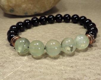 Prehnite Stretch Bracelet - Heart Chakra Love Romance - Heal the Healer Reiki Infused Jewelry