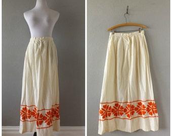San Mateo Maxi Skirt Vintage 70s Orange Embroidered Large Flowers Floor Length Hippie Boho Skirts Sz 14 M/L Medium Large High Waisted 1970s