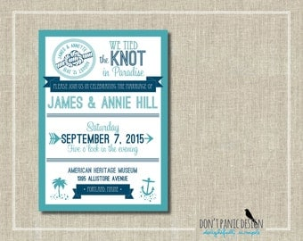 Nautical Printable Wedding Announcement Invitation - Wedding Reception Announcement - Turquoise and Navy  - Custom Colors