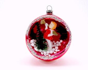 Vintage Glass Angel Diorama Christmas Ornament 1960s Red Japan Chrismtas Decoration