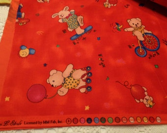 Adorable Red Print LocoMotion for Jelly Bean Junction 2 yards Fabric Bunnies Bears