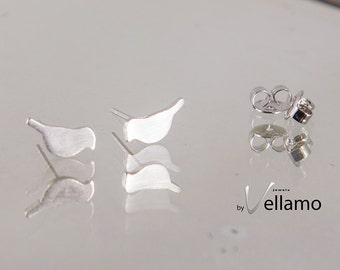 Tiny stud earrings, sterling silver bird post earrings, very small stud earrings, miniature delicate ear-rings, animal mini earrings