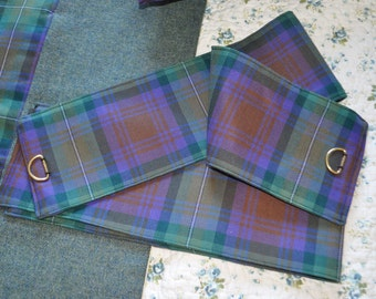 Tartan Curtain Tie Backs, Isle of Skye tartan, 100% pure new wool. Customisation available.
