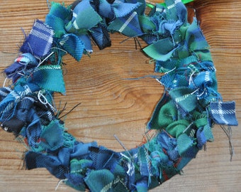 Tartan Wreath, made from Douglas Ancient and Help for Heroes tartans. Scottish Heritage Gift, Scottish Christmas Gift