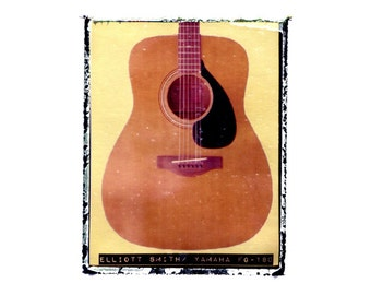 Elliott Smith acoustic guitar art print / music gift / rock n roll art / music room decor / guitar gift / man cave art
