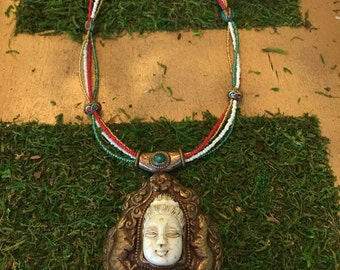 Large Tibetan Buddhist focal pendant necklacehandmade engraved copper stone and bead necklace one of a kind gourgeous jewelry