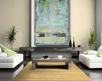 large abstract painting custom painting original art contemporary modern art blue green painting huge painting on canvas by cheryl wasilow