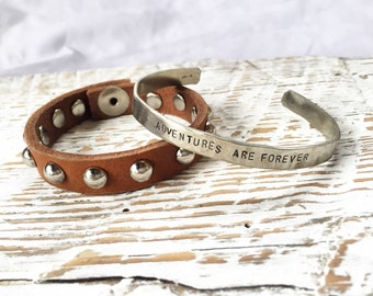 Adventures are Forever hammered metal cuff