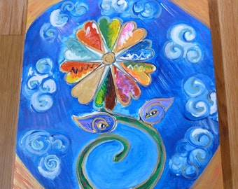 Blue Birds and Flower Original Acrylic Painting-One of a Kind-Original Art-Blue Painting-Love Birds-Colorful