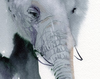 Elephant watercolor painting, African big 5 animals