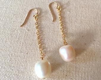 Pearl Drop Earrings on Gold Chain