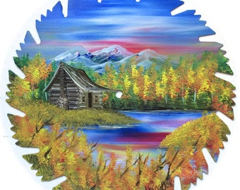 Hand Painted Saw Blade Mountain Fall Cabin